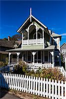 quaint house - House Exterior with White Picket Fence, Wesleyan Grove, Camp Meeting Association Historical Area, Oak Bluffs, Martha's Vineyard, Massachusetts, USA Stock Photo - Premium Rights-Managednull, Code: 700-06465755