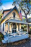 House with Porch and American Flag, Wesleyan Grove, Camp Meeting Association Historical Area, Oak Bluffs, Martha's Vineyard, Massachusetts, USA Stock Photo - Premium Rights-Managed, Artist: R. Ian Lloyd, Code: 700-06465757