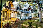 Row of Colorful Cottages in Wesleyan Grove, Camp Meeting Association Historical Area, Oak Bluffs, Martha's Vineyard, Massachusetts, USA Stock Photo - Premium Rights-Managed, Artist: R. Ian Lloyd, Code: 700-06465762