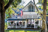 quaint house - Front View of House with Porch, Wesleyan Grove, Camp Meeting Association Historical Area, Oak Bluffs, Martha's Vineyard, Massachusetts, USA Stock Photo - Premium Rights-Managednull, Code: 700-06465764