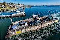 Aerial View of Car Ferry Approaching Dock, Edgartown, Dukes County, Martha's Vineyard, Massachusetts, USA Stock Photo - Premium Rights-Managednull, Code: 700-06465778
