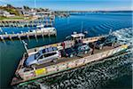 Aerial View of Car Ferry Approaching Dock, Edgartown, Dukes County, Martha's Vineyard, Massachusetts, USA Stock Photo - Premium Rights-Managed, Artist: R. Ian Lloyd, Code: 700-06465778