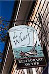 Sign for The Wharf Restaurant and Pub, Edgartown, Dukes County, Martha's Vineyard, Massachusetts, USA Stock Photo - Premium Rights-Managed, Artist: R. Ian Lloyd, Code: 700-06465786