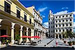 Restaurant Patio with Red Umbrellas Facing Plaza Vieja, Havana, Cuba Stock Photo - Premium Rights-Managed, Artist: R. Ian Lloyd, Code: 700-06465916