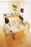 family table eating together - Family of four people eating at the dining table in the living room Stock Photo - Premium Rights-Managednull, Code: 859-06470174