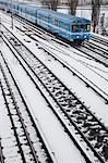 Subway on a snowy railway, Stockholm, Sweden. Stock Photo - Premium Royalty-Free, Artist: Robert Harding Images, Code: 6102-06470390