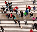 High angle view of people on zebra crossing
