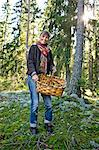 Smiling mature woman with basket full of mushrooms Stock Photo - Premium Royalty-Free, Artist: David & Micha Sheldon, Code: 6102-06471272