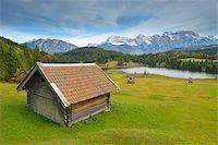 Hay Barn, Lake Geroldsee and Karwendel Mountain Range, Werdenfelser Land, Upper Bavaria, Bavaria, Germany Stock Photo - Premium Royalty-Freenull, Code: 600-06471336