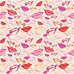 Seamless texture with a lot of color lips prints.
