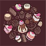 Set of cute cakes. Multicolored Vector illustration Stock Photo - Royalty-Free, Artist: katyau                        , Code: 400-06471906