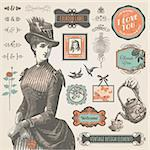 Set of vintage labels and elements for label, printed material and web Stock Photo - Royalty-Free, Artist: tanjakrstevska                , Code: 400-06472073