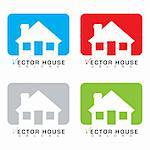 Collection of four bungalow house icons with colour background Stock Photo - Royalty-Free, Artist: Nicemonkey                    , Code: 400-06472216