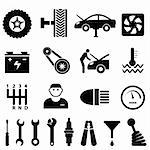 Car maintenance and repair icon set Stock Photo - Royalty-Free, Artist: soleilc                       , Code: 400-06472228