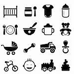 Baby and newborn icon set in black Stock Photo - Royalty-Free, Artist: soleilc                       , Code: 400-06472546