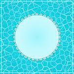 Blue Invitation Card with Round Label and Pool Water Still Surface Stock Photo - Royalty-Free, Artist: nikifiva                      , Code: 400-06472623