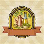 Retro olive harvest label in woodcut style. Vector illustration. Stock Photo - Royalty-Free, Artist: iatsun                        , Code: 400-06472927
