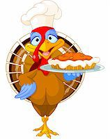 Thanksgiving turkey serving pumpkin pie Stock Photo - Royalty-Freenull, Code: 400-06472958