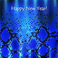 Snake New Year Background in Blue Stock Photo - Royalty-Free, Artist: SNR, Code: 400-06473227