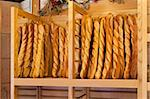 Bread baguettes standing up in a French bakery or boulangerie Stock Photo - Royalty-Free, Artist: babar760                      , Code: 400-06473375