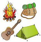 Camping objects collection 1 - vector illustration. Stock Photo - Royalty-Free, Artist: connynka                      , Code: 400-06474823