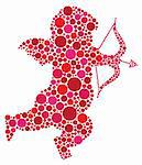 Valentines Day Love Cupid with Bow and Arrow Silhouette Filled with Pink and Red Polka Dots Illustration Stock Photo - Royalty-Free, Artist: jpldesigns                    , Code: 400-06476965