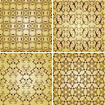 vector seamless golden patterns, oriental style, can be used as patterns, wrapping paper, fully editable eps 8 8, seamless patterns in plain colours in swatch menu Stock Photo - Royalty-Free, Artist: alexmakarova                  , Code: 400-06477816
