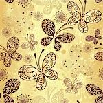 Gold and brown seamless pattern with lacy butterflies (vector) Stock Photo - Royalty-Free, Artist: OlgaDrozd                     , Code: 400-06477845