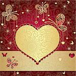Vintage gold-red valentine background with gold heart and butterflies (vector) Stock Photo - Royalty-Free, Artist: OlgaDrozd                     , Code: 400-06477931