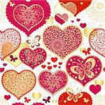 Seamless valentine pattern with red and gold hearts and butterflies (vector) Stock Photo - Royalty-Free, Artist: OlgaDrozd                     , Code: 400-06478072