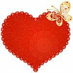 Large red romantic vintage heart with gold butterfly on white. (Vector) Stock Photo - Royalty-Free, Artist: OlgaDrozd                     , Code: 400-06478096