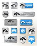 Collection of Upload to cloud metallic and glossy buttons for web interface. Vector illustration Stock Photo - Royalty-Free, Artist: gorgrigo                      , Code: 400-06478274
