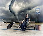 woman,waiting a bus and tornado (photo and hand-drawing elements compilation) Stock Photo - Royalty-Free, Artist: vicnt                         , Code: 400-06478497