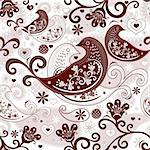 Brown-white valentine repeating pattern with stylized birds and vintage flowers (vector) Stock Photo - Royalty-Free, Artist: OlgaDrozd                     , Code: 400-06478773