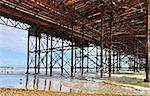 The Brighton Pier framework seen from underneath, HDR look Stock Photo - Royalty-Free, Artist: Dutourdumonde                 , Code: 400-06480503