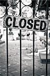 Monochrome closed sign on metal bars of the gate Stock Photo - Royalty-Free, Artist: martinm303                    , Code: 400-06480709