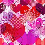 Seamless valentine striped pattern with colorful transparent hearts and flowers (vector EPS 10) Stock Photo - Royalty-Free, Artist: OlgaDrozd                     , Code: 400-06481811