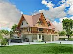 Beautiful luxury home (3D rendering) Stock Photo - Royalty-Free, Artist: vicnt                         , Code: 400-06481957