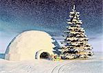 christmas igloo at the morning Stock Photo - Royalty-Free, Artist: vicnt                         , Code: 400-06481958