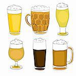 hand drawn illustration of a collection of six different beer pints,  set of doodles isolated on white Stock Photo - Royalty-Free, Artist: catacos                       , Code: 400-06482685