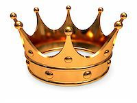 Golden crown, close-up on a white background. Stock Photo - Royalty-Freenull, Code: 400-06483428