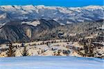 a beautiful winter landscape with a mountain village. Village Pestera , Bran, Romania Stock Photo - Royalty-Free, Artist: porojnicu                     , Code: 400-06483569