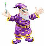 A cartoon cute friendly old wizard character holding a wand Stock Photo - Royalty-Free, Artist: Krisdog                       , Code: 400-06483597