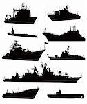 High detailed military ship  silhouettes  set. Vector Stock Photo - Royalty-Free, Artist: vadimmmus                     , Code: 400-06483660