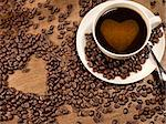 coffee beans and cup of coffee with a heart Stock Photo - Royalty-Free, Artist: mereutaandrei                 , Code: 400-06484939