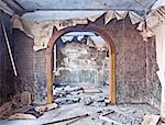 old abandoned burned interior photo Stock Photo - Royalty-Free, Artist: vicnt                         , Code: 400-06485088