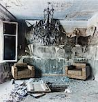 old abandoned burned interior photo Stock Photo - Royalty-Free, Artist: vicnt                         , Code: 400-06485090