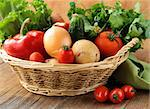 fresh vegetables and herbs mix in a wicker basket Stock Photo - Royalty-Free, Artist: Dream79                       , Code: 400-06485485