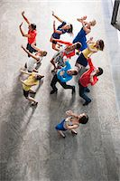 fitness   mature woman - Overhead view of people dancing Stock Photo - Premium Royalty-Freenull, Code: 649-06488724