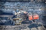 Trucks and digger at surface coal mine Stock Photo - Premium Royalty-Free, Artist: Lloyd Sutton, Code: 649-06489604